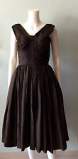 Vintage 50s Draped Brown Bow Full Skirt Party Dress Suzy Perette 1950s New Look