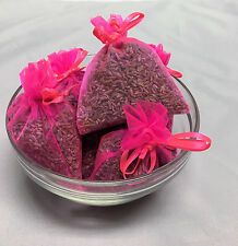 Set of 6 Lavender Sachets made with Hot Pink Organza Bags