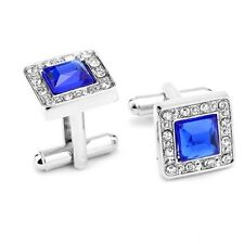 Cufflinks Vintage Square silver Plated Cuff Links With Blue Crystal SQR02