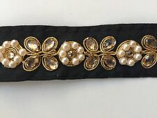 ATTRACTIVE INDIAN BLACK PEARL & CRYSTALS FLOWERS FABRIC LACE/TRIM -SOLD by METER