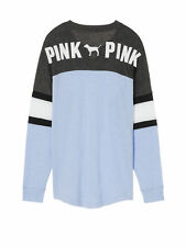 Victoria's Secret PINK Lace-Up Varsity Crew Sweatshirt Morning Sky Blue Large L
