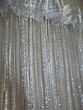 WHITE SILVER GLITTER DOOR CURTAIN FLY INSECT BUG SCREEN STRING FRINGE WINDOW NEW