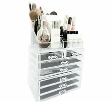 Unique Home Acrylic Jewelry & Cosmetic Storage Makeup Organizer, 3 Piece Set