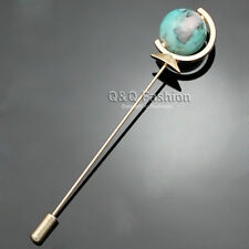 Men Gold Earth Globe Planet Turquoise Lapel Stick Pin Tie Hat Scarf Brooch