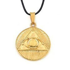 Freemason Pendant - Gold Plated  Steel Masonic All Seeing Eye Pyramid Symbol