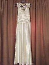 VINTAGE JESSICA MCCLINTOCK long White Wedding Dress SATIN 12 open back SEXY