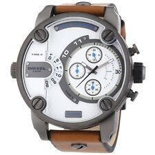 BRAND NEW DIESEL DZ7269 LITTLE DADDY WHITE DIAL BROWN LEATHER STRAP MEN'S WATCH