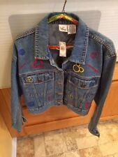 Disney Store Women's Mickey Mouse Denim Jean Jacket Embroidered Distressed Large