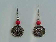 GORGEOUS DARK SILVER PLATED COINS RICH RED WOOD EARRINGS TRIBAL