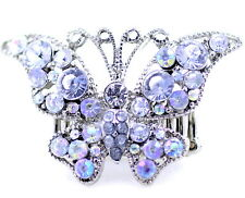 Adjustable vintage style silver butterfly stretchable ring with crystal