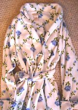 Vintage LAURA ASHLEY ROBE Long Robe White BLUE FLORAL Belted THICK WARM Large bn