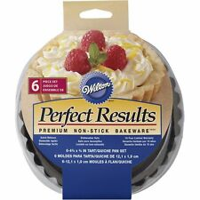 Wilton Perfect Results 4 Inch Round Tart Quiche Torte Pan Set Of 6 New 2105-6817