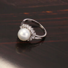 18k White/Rhodium Colour Shell Bead Women's Ring  - Size 5US