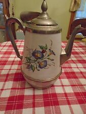 ANTIQUE WHITE GRANITEWARE ENAMELWARE TEAPOT PEWTER TRIM MORNING GLORY SCENE