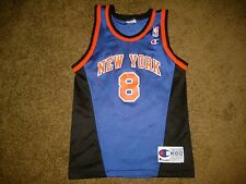 Vtg 90s Champion NEW YORK KNICKS Latrell Sprewell Youth MEDIUM Basketball Jersey
