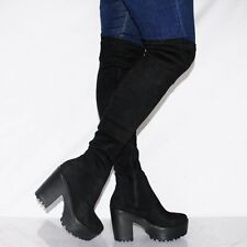 Koi Couture Women's UK 4 Over The Knee Black Stretch Fit Tall Boots