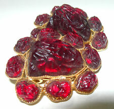 LARGE VINTAGE POURED RED LAVA ART GLASS VOGUE JLRY GOLD TONE CLIP ON EARRINGS