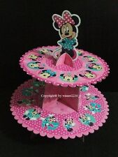 Disney MINNIE MOUSE 2 Tier Cardboard Cake Stand + Topper hold up to 12 Cupcake