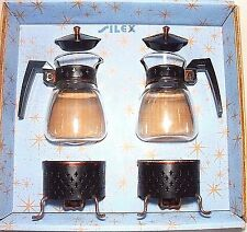2 Pyrex Silex Starlight Carafe Pot Individual Coffee Copper Black Warming Stand