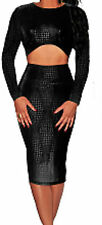Sexy Black Snake Effect Crop Top and Skirt Long Sleeves Back Zip Clubbing Party