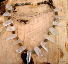 Natural Rock Ice Crystal Quartz and Labradorite Huge Statement Necklace. Chakra.