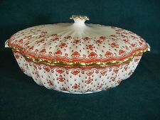 """Spode Fleur de Lys Red Y7481 Round 11 1/4"""" Covered Serving Bowl with Lid"""