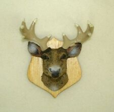 Dollhouse Deer Head Trophy w/ Antlers Mounted on Wood 1:12 Doll House Miniatures
