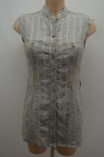 CAROLL CHEMISIER .  98% LIN GRIS TAILLE 38 T38 M    SHIRT CAMISA BLUSE BLOUSE