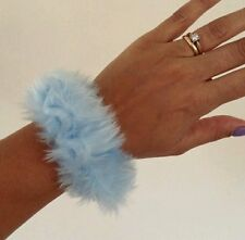 90s 80s SMALL BABY BLUE FUN FUR FLUFFY HAIR SCRUNCHIE HAIRTIE PONYTAIL VTG