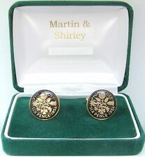 1954 Sixpence cufflinks from real coins in Black & Gold