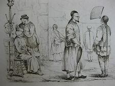 1834 Voyage autour du monde Urville 4 gravures double feuille Fleuve tigre