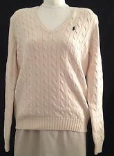 Ralph Lauren V-Neck Cotton Cable Knit Sweater Womens Large Winter White New