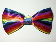 Rainbow Stripe Bowtie Fashion Novelty Mens Adjustable Wedding Bow Tie BTS58