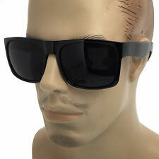 SUPER Dark Black Lens Sunglasses Square Oversized Mob Style Wayfarer Flat Top