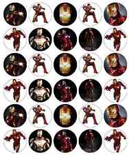 30 x Iron Man Avengers Cupcake Toppers Edible Wafer Paper Fairy Cake Toppers