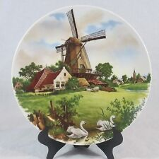 Holland Royal Schwabap Plate Wood Windmill Country House With Swans and Sheep