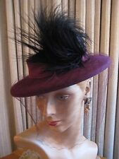 STAND OUT PURPLE FELT TILT HAT W/SIDE CURLED BLACK FEATHER & VEIL