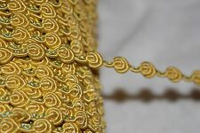 "$1 yard Bright Yellow Gold Green GIMP Rosebud sewing doll craft trim 1/4"" wide"