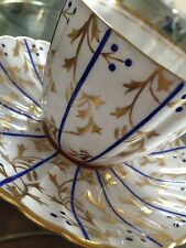 Royal Chelsea Tea Cup and Saucer White Deep Blue and Gold