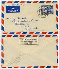 ADEN FORCES AIRMAIL 2 1/2A PRINTED ADDRESS LABEL RAF RUSSELL to BRIGHTON GB