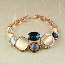 B2 Rose Gold Plated Catseye Stone and Crystal Bracelet   - Gift Boxed