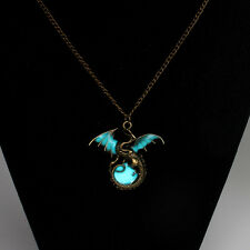 Glow in the Dark Dragon Fantasy Moon Pendant Necklace Luminous Fashion Jewelry