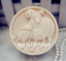 1pcs Parent child Sheep (ZX118) Silicone Handmade Soap Mold Crafts DIY Mould