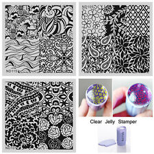 4Pcs/set Nail Art Stamp Image Plate Template Purple Stamper W/Scraper Manicure