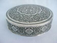 Superb 20thC Middle Eastern Silver Hand Chased & Engraved CircularTable Box.