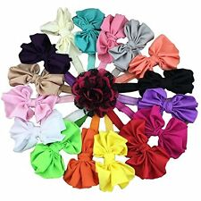 XIMA 16pcs 4inch Satin Bow Baby Headbands Elastic Headband for Baby Children