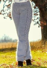 SUPERTANYA GREY hand knitted mohair pants fuzzy trousers fluffy soft leggings XL