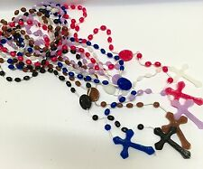 120 x PRISON ISSUE PLASTIC ROSARY BEADS  black blue pink white wholesale