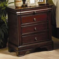 3 Drawer Nightstand Sturdy Wood Mahogany Bedside Table Lamp Storage Stand Dark