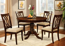 Carlisle Country Style 5 PC Dining Set Round Table w/ Fabric Chairs Brown Cherry